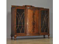 Large Vintage Flame Mahogany Triple Door Presentation Bookcase Display Cabinet