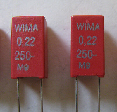 20 Pcs Wima Mks-2 Metalized Polyester Capacitors .22uf 0.22uf 250v Volts 10