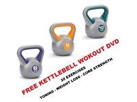 Kettlebell Set 6-8-10kg Fitness Weights Vinyl Kettlebells Free DVD: NEW