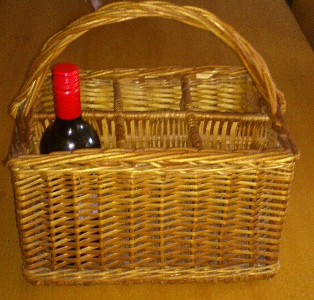 Steamed Wicker 6 bottle carrier, or shoe storage - Great Christmas Gift!