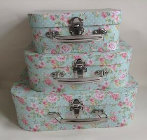 shabby chic vintage set of 3 storage cases boxes blue floral pink rose stackable