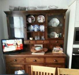 Dark wood dresser, with 2 glass doors