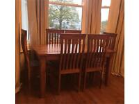 Solid Wood Dining Table and 6 Chairs. Sheesham or Mango Wood.