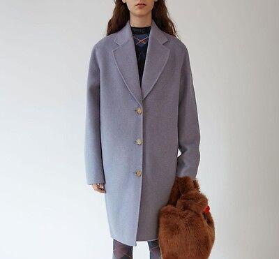 $1150 Acne Studios AUTH NWT Oversized Wool Cashmere Landi Coat 38 Lilac Melange