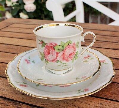 Schirnding Kaffeetasse Sammeltasse Kuchenteller Sammelgedeck Rose Goldrand