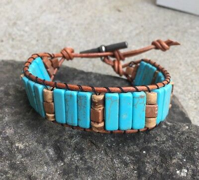 Turquoise Silver Mens Bracelets - Men's Turquoise and Tiger Jasper Beaded Brown Leather Cuff Bracelet NO Silver