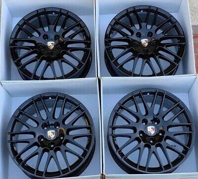 "20"" Porsche Cayenne RS Spyder Factory OEM Black Wheels Rims Set of 4"