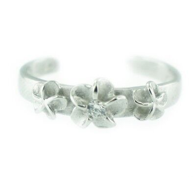 (Sterling Silver Three Hawaiian Plumeria Flowers Adjustable Toe Ring)
