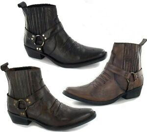 Mens-Leather-Western-Cowboy-Biker-Boots-Black-Brown-Tan-Size-7-8-9-19-11-12