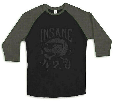 INSANE CLOTHING ART STREETWEAR 420 BASEBALL RAGLAN MENS TEE LUCKY BASTARDS