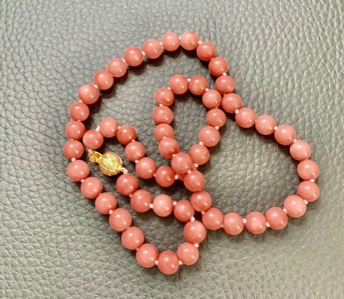 Jugendstil Pink Korallen Kette 6mm , Dopellt geknüpft