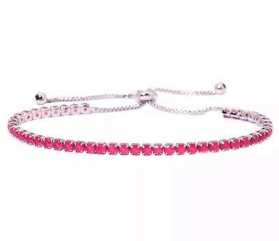 Ruby Cinch Tennis Bracelet 3MM 14Kt White Gold Over 4 3/4 To 7 1/2 Inch