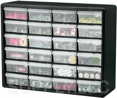 Parts Storage Cabinet 24 Drawer Bins Garage Nuts Bolts Organizer Workshop Office