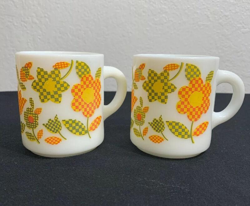 Vintage - Orange Green & Yelllow Checkered Flower Milk Glass Mug Cup Set Of (2).