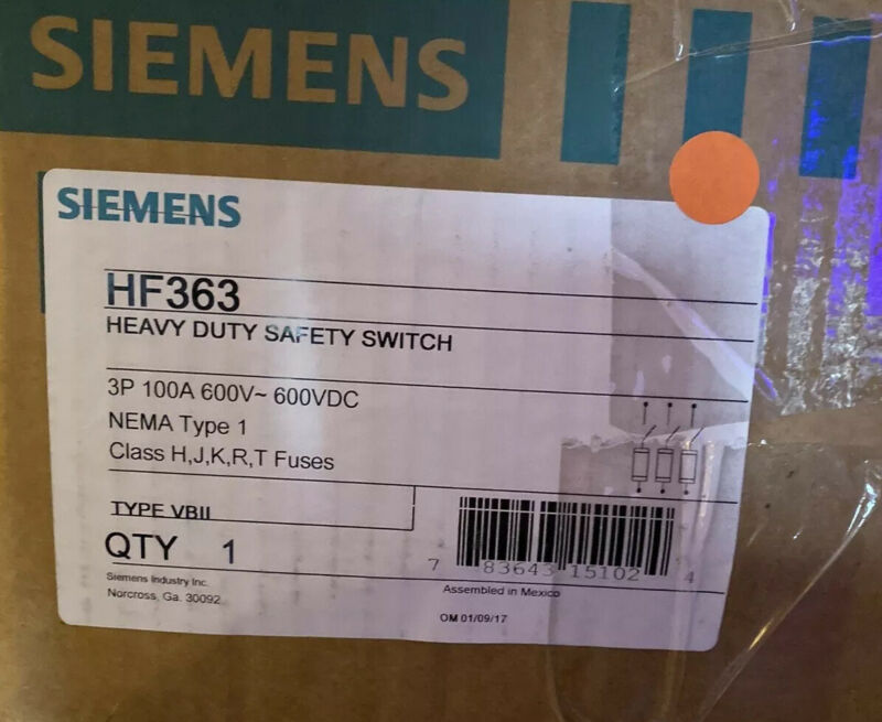 SIEMENS HF363 FUSIBLE SAFETY DISCONNECT SWITCH  100 AMP 600VAC