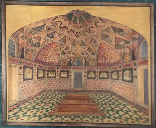 Rare islamic exquisite mughal handmade architectural interior painting on paper