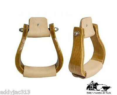 Curved Hardwood Bell Stirrups Curved Sides with Leather Tread New Free Shipping