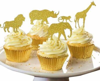 30 Pack GOLD Glitter Jungle Safari Animal Cake Cupcake Toppers Picks Decorations