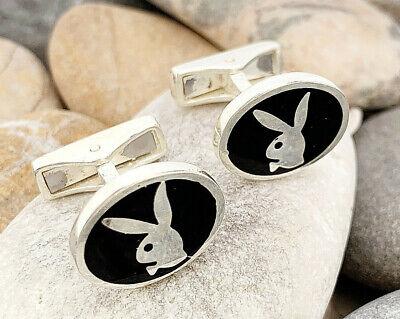 Playboy Bunny Cufflinks (Handmade Solid 925k Sterling Silver Playboy Bunny Rabbit Men's Cuflinks)