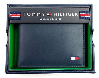 TOMMY HILFIGER MEN'S PREMIUM LEATHER CREDIT CARD ID WALLET BILLFOLD NAVY 4891-03