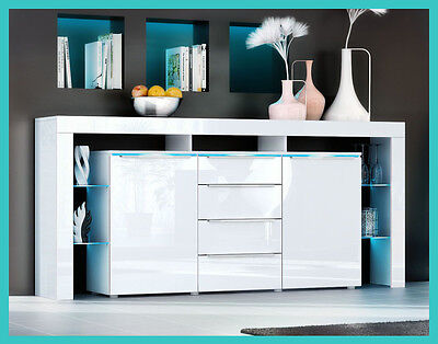 Buffet commode armoire de rangement meuble laqué salle à manger salon design