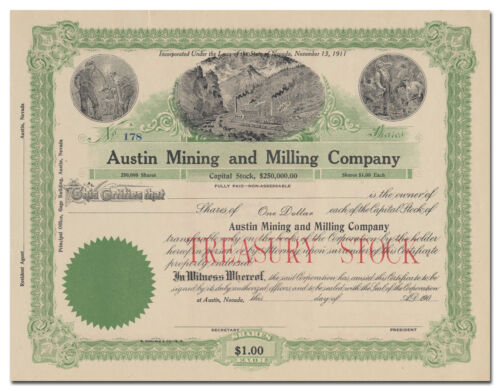 Austin Mining and Milling Company Stock Certificate