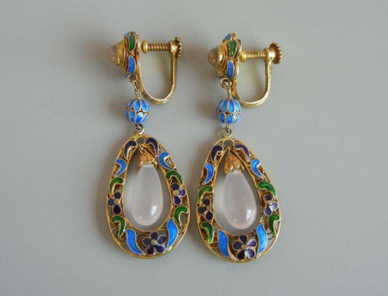 """Vintage 2"""" Earrings Chinese Gilt Silver Enamel Rose Quartz New Old Stock"""