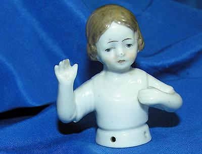 SCARCE VTG ANTIQUE C1890 GERMANY PINCUSHION HALF DOLL, LITTLE GIRL ARMS AWAY