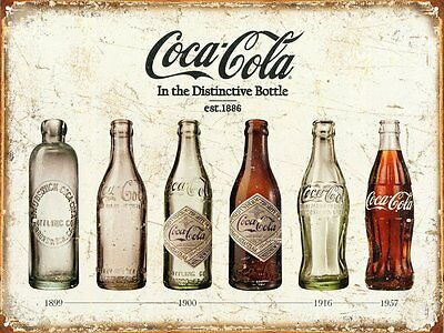 Coca Cola Advertising Bottle Evolution Distressed Vintage Style Metal Tin -