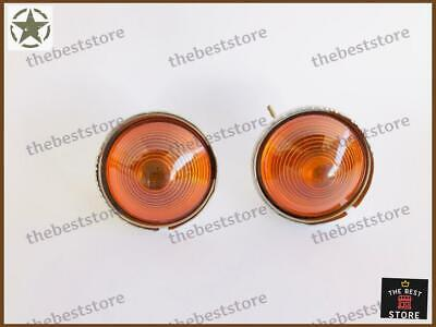 WILLYS JEEP REPLACEMENT PARK & TURN SIGNAL LAMP ASSEMBLY (AMBER LENS)(SET OF 2)