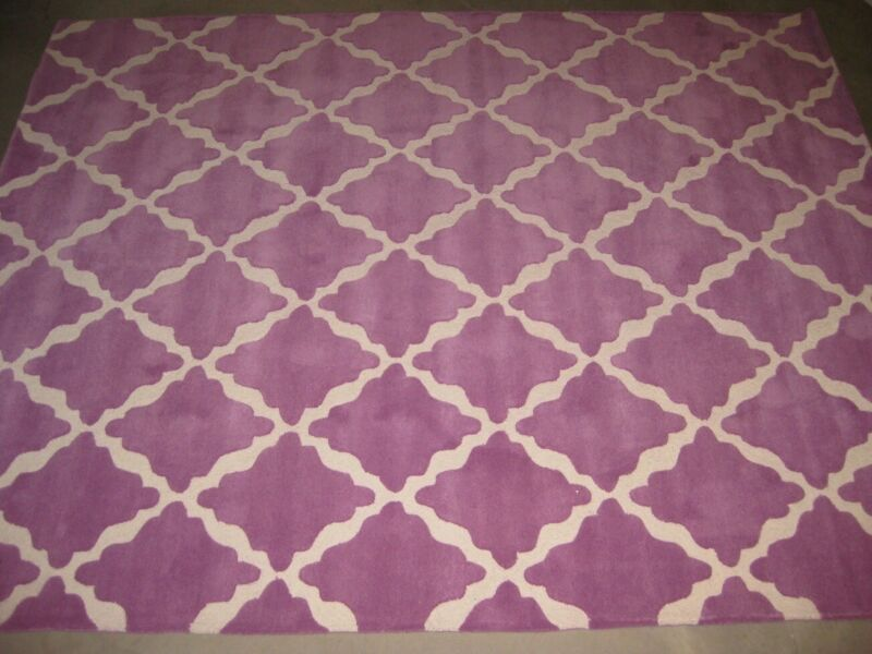 Pottery Barn Pb Teen Mauve Lattice Wool 8x10 Rug Ebay