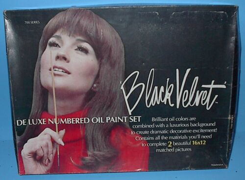 VINTAGE PAINT BY NUMBER PBN BLACK VELVET TWO SILKY HORSES IN BOX VERY CLEAN
