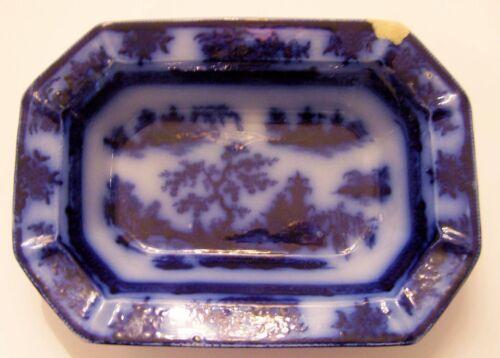 Antique Vintage Flow Blue Open Vegetable - Oriental Style - Chapoo