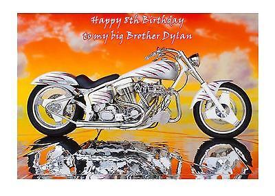 Harley Davidson A5 Birthday Card Personalised Husband Son Uncle Boyfriend Dad 50 - Harley Davidson Birthday