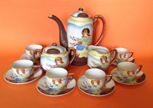 Dragon Ware Satsuma Tea Set - 6 Cups Saucers - Hand Painted Yellow Blue - Japan