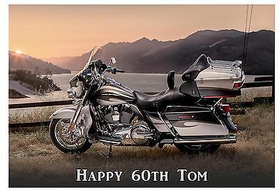Harley Davidson Birthday A5 Card Personalised Dad Husband Uncle Friend Son 50 65 - Harley Davidson Birthday