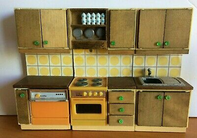 Vintage Dolls House Retro Lundby Kitchen Sink, Oven, Dishwasher Units
