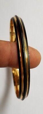 Two Tone Black & Gold Plated Designer Sikh Singh Kaur Khalsa Kara Bangle Kada A1