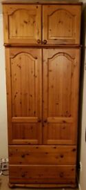 Solid pine double wardrobe with matching top box
