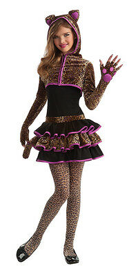 Cat Costume Teen (Teen Leopard Girl's Hoodie Costume Animal Print Tutu Dress Cat Tween Size)