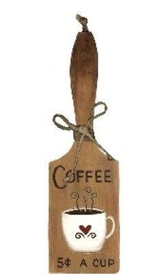 COFFEE 5C cup country kitchen decorative wood butter Paddle