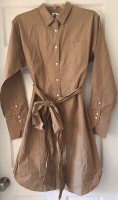 J Crew Thomas Mason Tie Waist Shirtdress Button Up 10 G5756 Dark Stone Dress