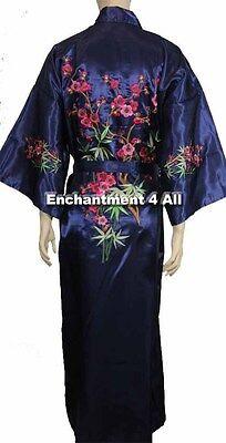 Bestickte Satin-robe (Handgefertigt Bestickt Blumen Design Seide Satin Langer Kimono Robe W/)