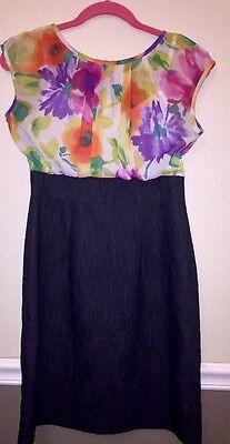 Stretch Denim Tank Dress (Women's ALYX 4 Short Sleeve Floral Top W/tank Stretch Denim Bottom Belted Dress)