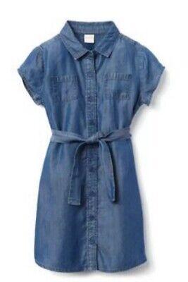 NWT Gymboree Girls Camp Must Haves Blue Denim Button Down Dress size 8