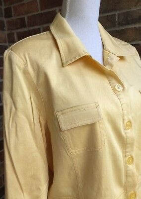 DIALOGUE Jacket Blazer Women's Size 16 Yellow Lined Career School