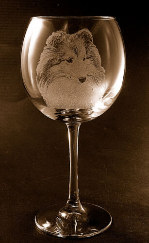 New! Etched Shetland Sheepdog / Sheltie on Elegant Red Wine Glasses (Set of 2)