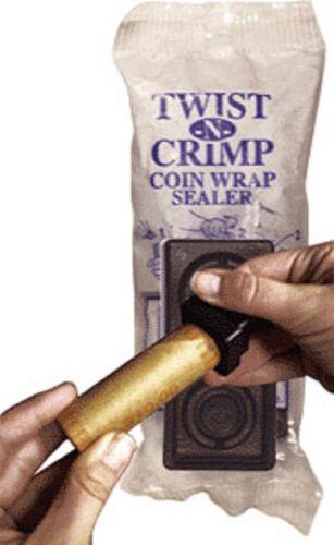 Twist-N-Crimp Coin Wrap Sealer Handy Tool For Cent Nickel Dime Quarter Rolls NEW