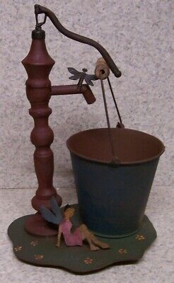 Flower Pot Antique Water Pump rustic weathered metal planter NEW 12