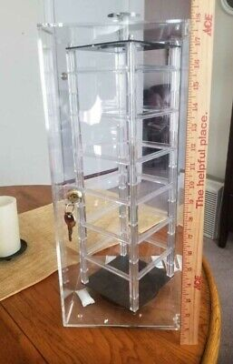 Clear Acrylic Locking Rotating Display Case For 2 Hanging Jewelry Cards